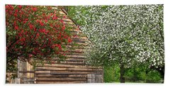 Spring Flowers And The Barn Beach Towel