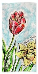 Beach Towel featuring the painting Spring Flowers by Monique Faella