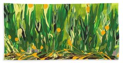 Beach Towel featuring the painting Spring Garden by Holly Carmichael
