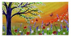 Beach Towel featuring the painting Spring Has Sprung by Sonya Nancy Capling-Bacle