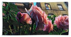 Spring In The City - Garden Of Roses Beach Towel by Miriam Danar