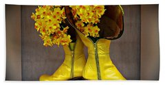 Spring In Yellow Boots Beach Towel by AmaS Art