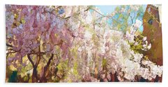 Spring Is In The Air - Flowering Tree Beach Sheet by Miriam Danar