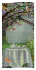Spring Orchard Teatime Beach Towel