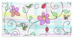 Spring Plaid Beach Towel by Debra Baldwin