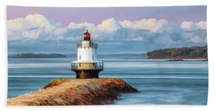 Beach Towel featuring the painting Spring Point Ledge Lighthouse by Christopher Arndt