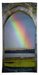 Beach Towel featuring the photograph Spring Rainbow Over Ireland's Shannon Estuary by James Truett