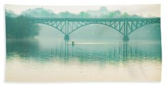 Beach Towel featuring the photograph Spring - Rowing Under The Strawberry Mansion Bridge by Bill Cannon