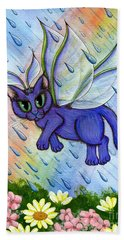 Beach Towel featuring the painting Spring Showers Fairy Cat by Carrie Hawks