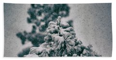 Beach Towel featuring the photograph Spring Snowstorm On The Treetops by Jason Coward