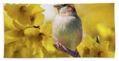 Spring Sparrow Beach Towel