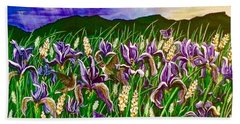 Spring Storm  Iris Fields Beach Towel by Jennifer Lake
