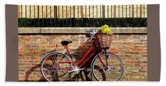 Beach Towel featuring the photograph Spring Sunshine And Shadows - Bicycle In Cambridge by Gill Billington