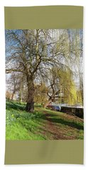 Spring Sunshine On Cambridge Riverbank Beach Towel by Gill Billington