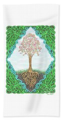 Beach Towel featuring the drawing Spring Tree With Knotted Roots And Knotted Border by Lise Winne
