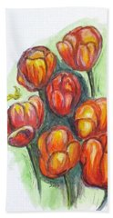 Spring Tulips Beach Towel by Clyde J Kell