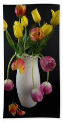 Spring Tulips In Vase Beach Towel by Patti Deters
