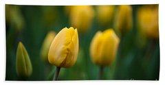 Spring Tulips Yellow Beach Towel
