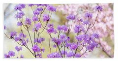 Beach Towel featuring the photograph Spring Watercolors. Blooming Rhododendron  by Jenny Rainbow