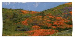 Spring Wildflower Display At Diamond Lake In California Beach Towel
