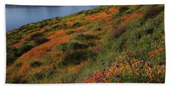 Spring Wildflower Season At Diamond Lake In California Beach Sheet