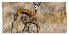 Springbok Mom And Calf Beach Sheet