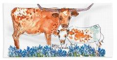 Springs Surprise Watercolor Painting By Kmcelwaine Beach Towel by Kathleen McElwaine