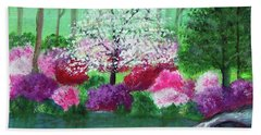 Beach Towel featuring the painting Springtime Azaleas In Georgia by Sonya Nancy Capling-Bacle