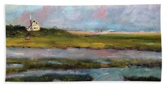 Beach Towel featuring the painting Springtime In The Marsh by Michael Helfen