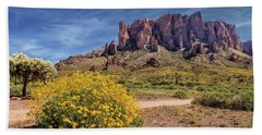 Springtime In The Superstition Mountains Beach Towel by James Eddy
