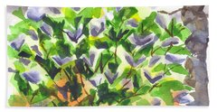 Beach Sheet featuring the painting Springtime Lilac Abstraction by Kip DeVore