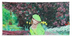 Beach Towel featuring the painting Springtime On Iris by Tom Roderick