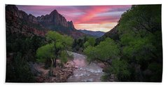 Springtime Sunset At Zion National Park Beach Towel