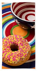 Sprinkled Donut On Circle Plate With Bowl Beach Towel