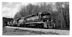 Sprintime Train In Black And White Beach Towel