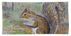 Beach Towel featuring the painting Spunky Squirrel by Lou Ann Bagnall