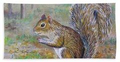 Spunky Squirrel Beach Sheet by Lou Ann Bagnall
