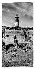 Spurn Point Lighthouse And Groynes Beach Towel