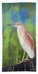 Squacco Heron Ardeola Ralloides Beach Towel