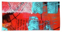 Beach Towel featuring the mixed media Square Collage No. 10 by Nancy Merkle