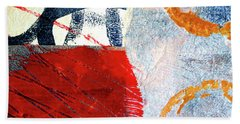 Beach Towel featuring the painting Square Collage No. 3 by Nancy Merkle
