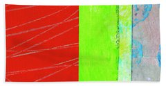 Beach Towel featuring the painting Square Collage No. 5 by Nancy Merkle