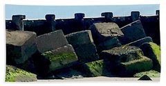 Square Mossy Blocks At Jetty  Beach Towel