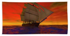 Square-rigged Ship At Sunset Beach Towel