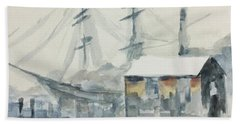Beach Towel featuring the painting Square Rigger by Stan Tenney