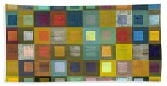 Squares In Squares Five Beach Sheet by Michelle Calkins