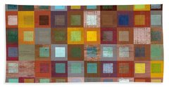 Squares In Squares Four Beach Sheet by Michelle Calkins