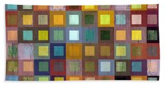 Squares In Squares One Beach Sheet by Michelle Calkins