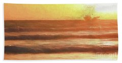 Squid Boat Sunset Beach Sheet