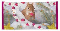 Beach Towel featuring the painting Squirrel In Snow With Cranberries by Nancy Lee Moran